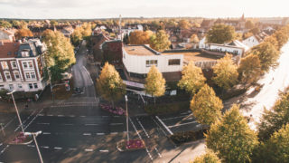 Sallier Bauträger Drohnenaufnahme Kreuzung in Lüneburg Gewerbeimmobilie