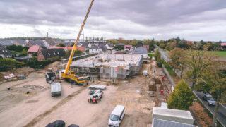 Sallier Bauträger Baustelle Gewerbeimmobilie Supermarkt mit Kran